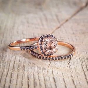 Jewelry - Rose gold Ring with Sapphire and Morganite Stone